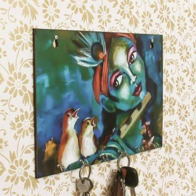Shree Krishna Theme Wooden Key Holder with 6 Hooks Indian Home Decor