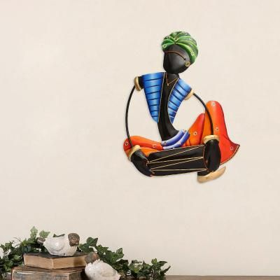 Musician Tribal Man Playing Dholak Wall Hanging Indian Home Decor