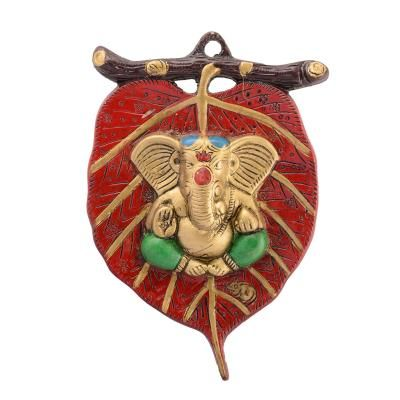 Lord Ganesha in Green Dhoti on Red Leaf Wall Hanging Indian Home Decor