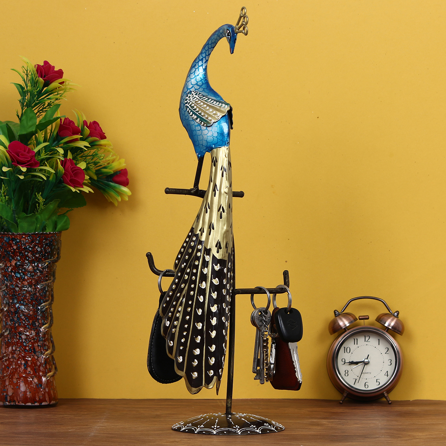 Colorful Peocock Handcrafted Iron Decorative Showpiece Indian Home Decor