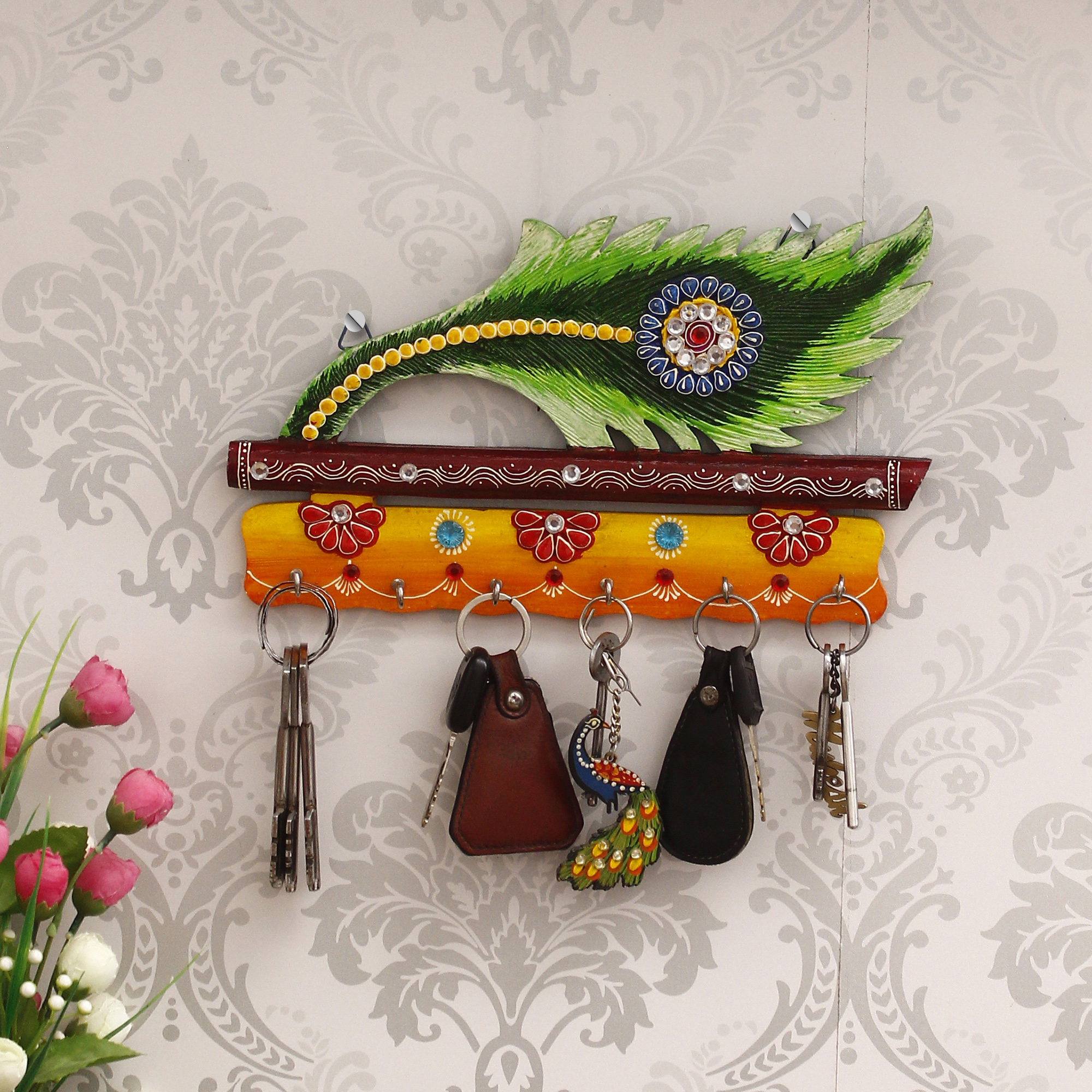 Papier Mache and Wooden Peacock Feather 5 Hooks Key Holder Indian Home Decor