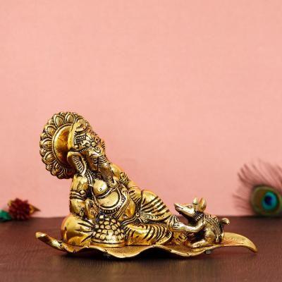 Golden Resting Ganesha With Mushak Metal Decorative Showpiece Indian Home Decor