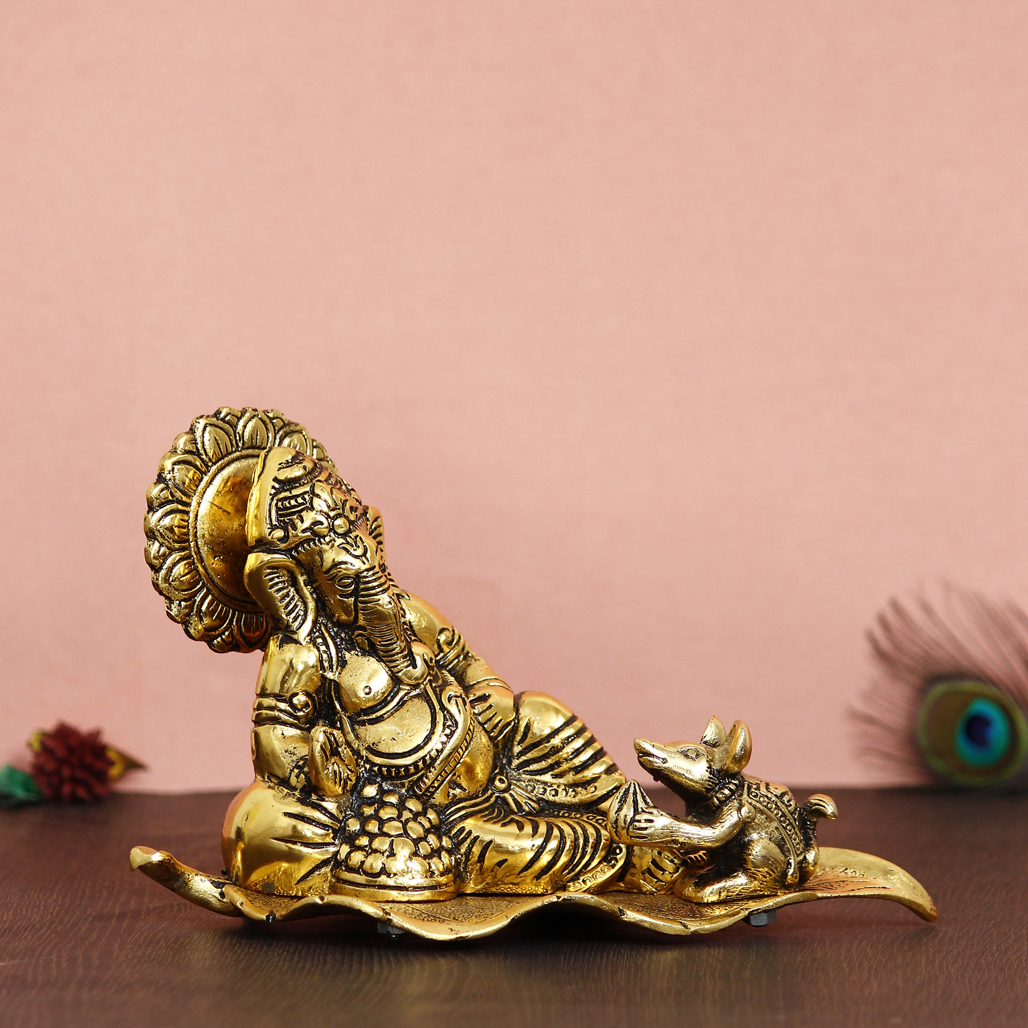 Golden Resting Ganesha With Mushak Metal Decorative Showpiece Indian Home Decor