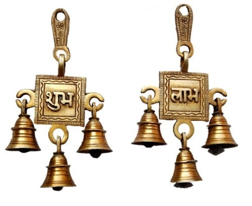 Brass Shubh Labh Hanging Bells Set  Indian Home Decor