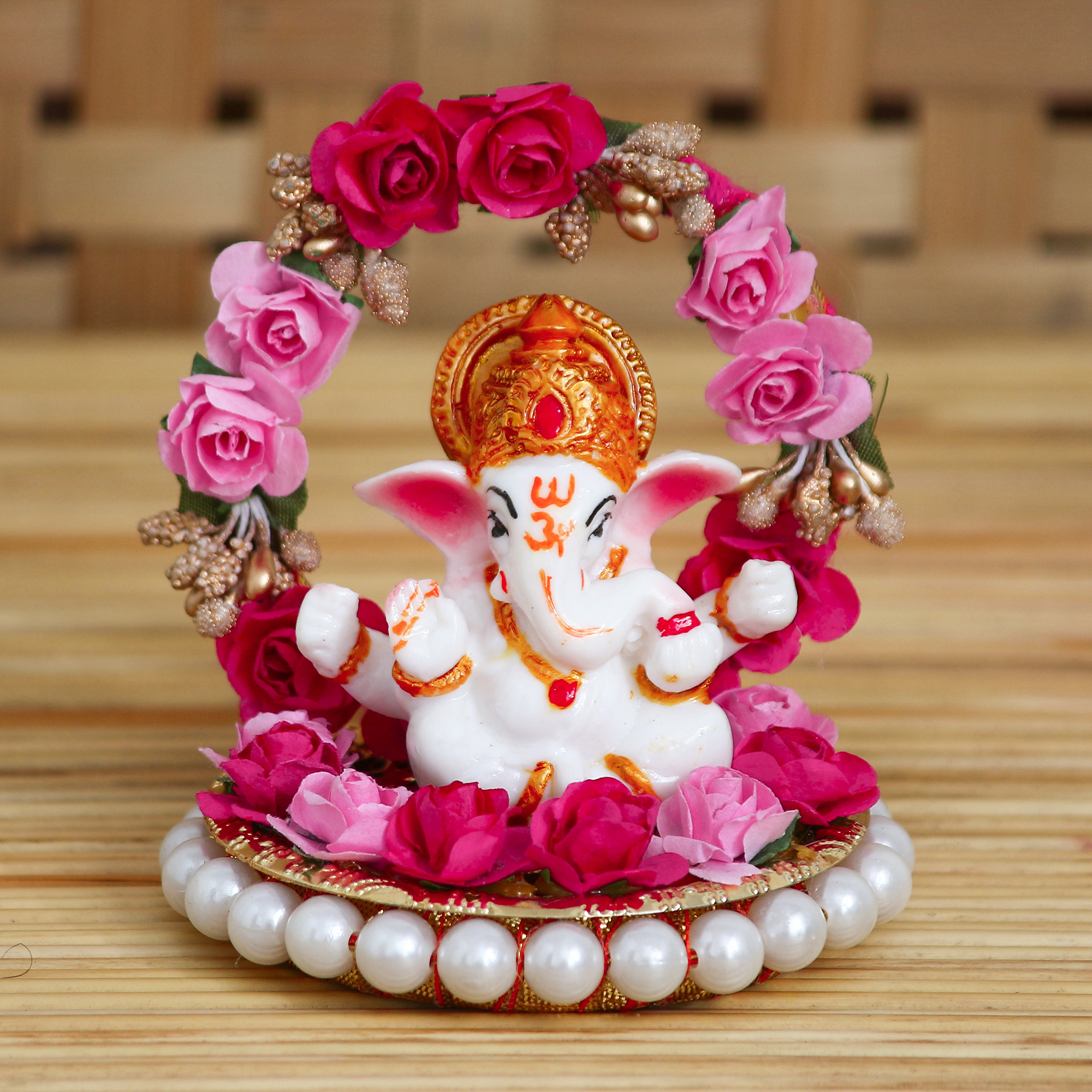 Lord Ganesha Idol on Decorative Handcrafted Plate with Throne of Pink and Red Flowers Indian Home Decor
