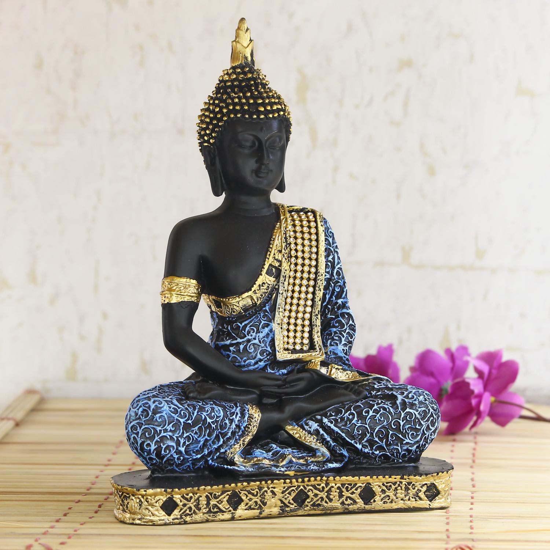 Blue Meditating Buddha Decorative Showpiece - 24 cm Indian Home Decor