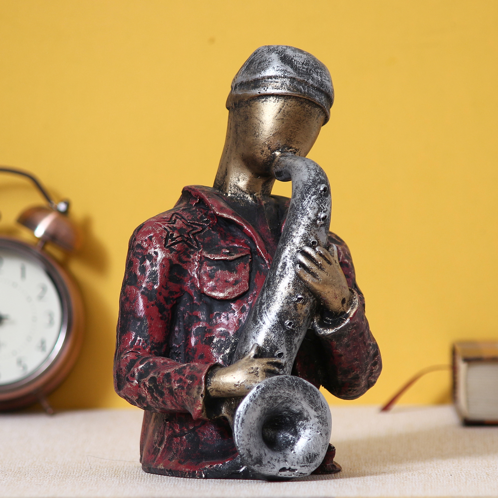 Man with Hat playing Trumpet Decorative Statue Indian Home Decor