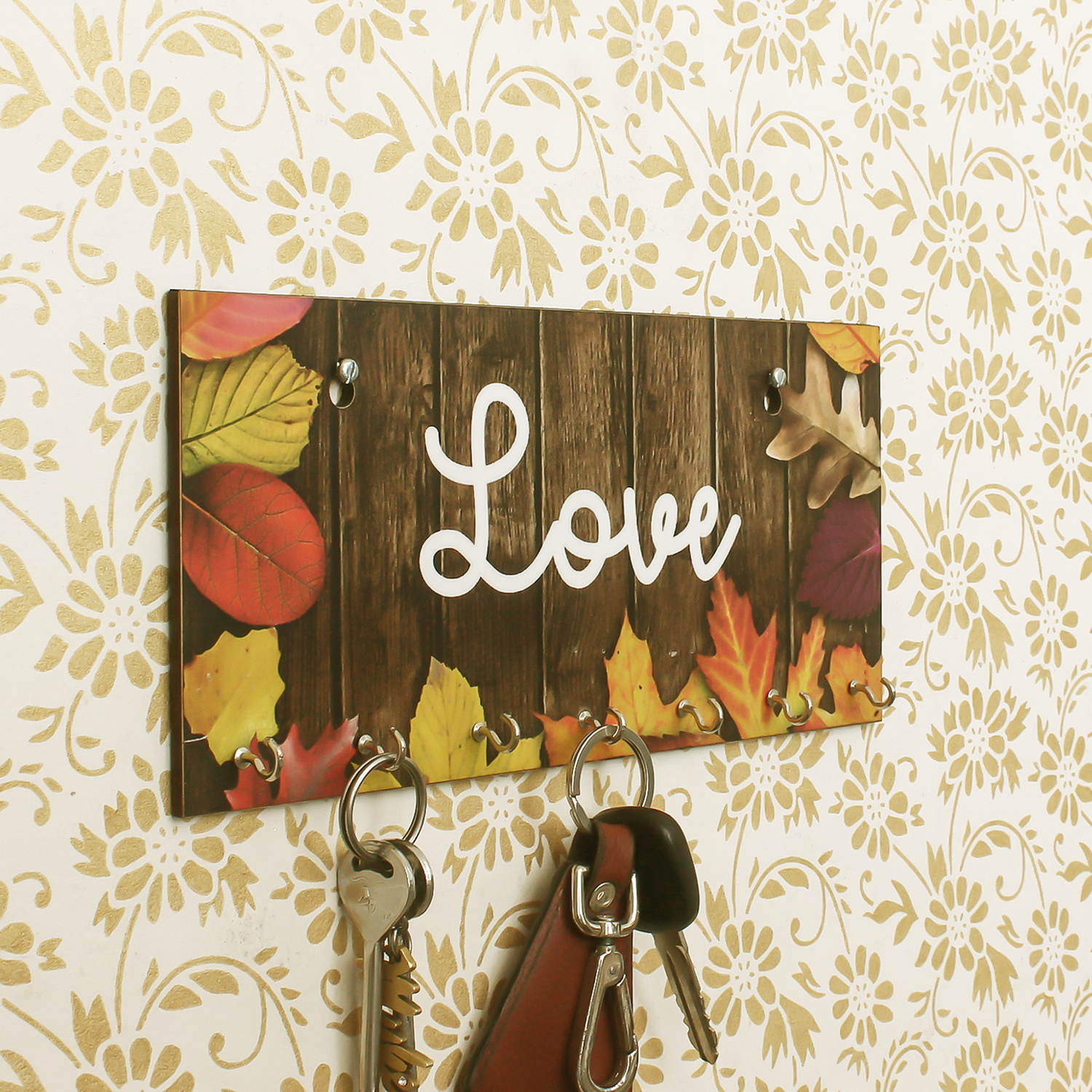 Love Theme Wooden Key Holder with 7 Hooks Indian Home Decor