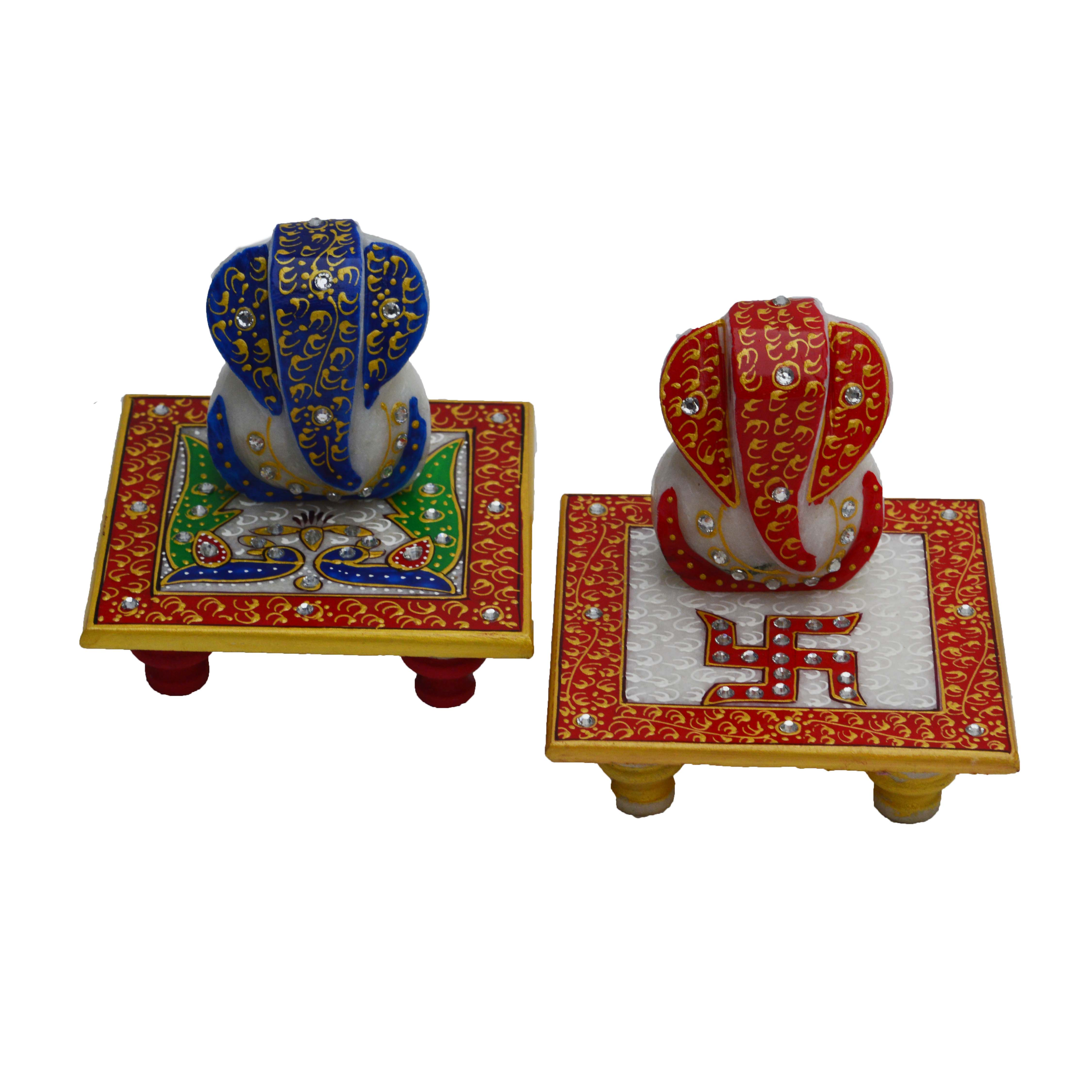 Combo of Lord Ganesha Marble Chowkis with Peocock and Swastik Indian Home Decor