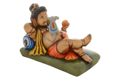 Premium Figurine of Resting Lord Ganesha with Mouse Indian Home Decor