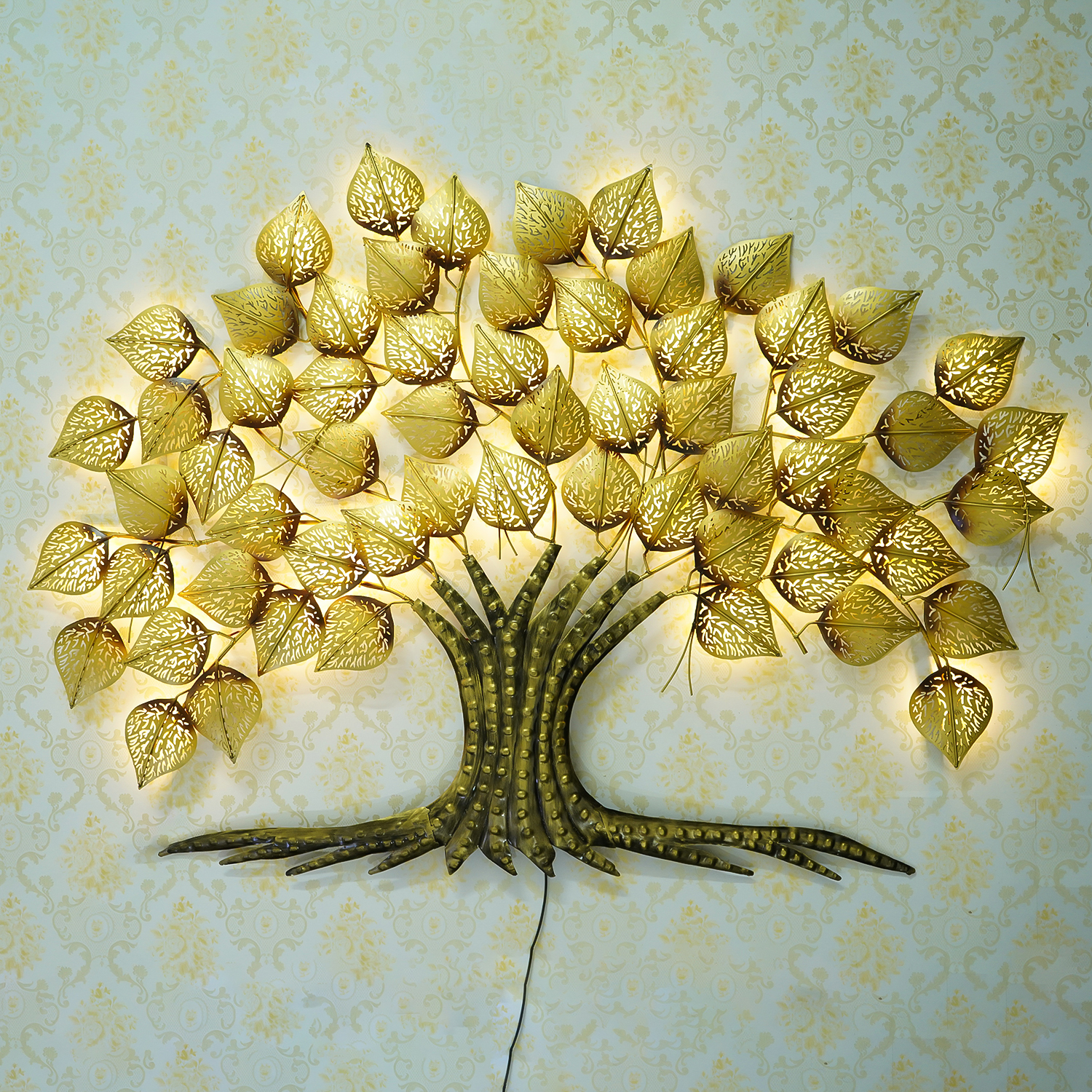 Golden Leaves Tree Handcrafted Iron Wall Hanging with background LEDs Indian Home Decor
