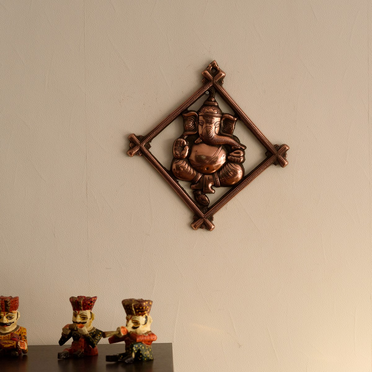 Lord Ganesha on Rhombus Frame Metal Wall Hanging Indian Home Decor