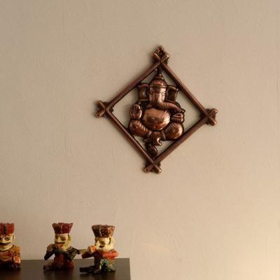 Lord Ganesha on Rhombus Frame Metal Wall Hanging Indian Home Decor