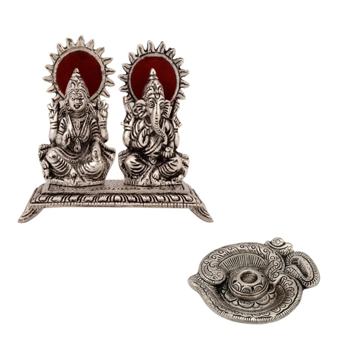 Set of Laxmi & Ganesha Statue and Om Incense Stick Holder Indian Home Decor