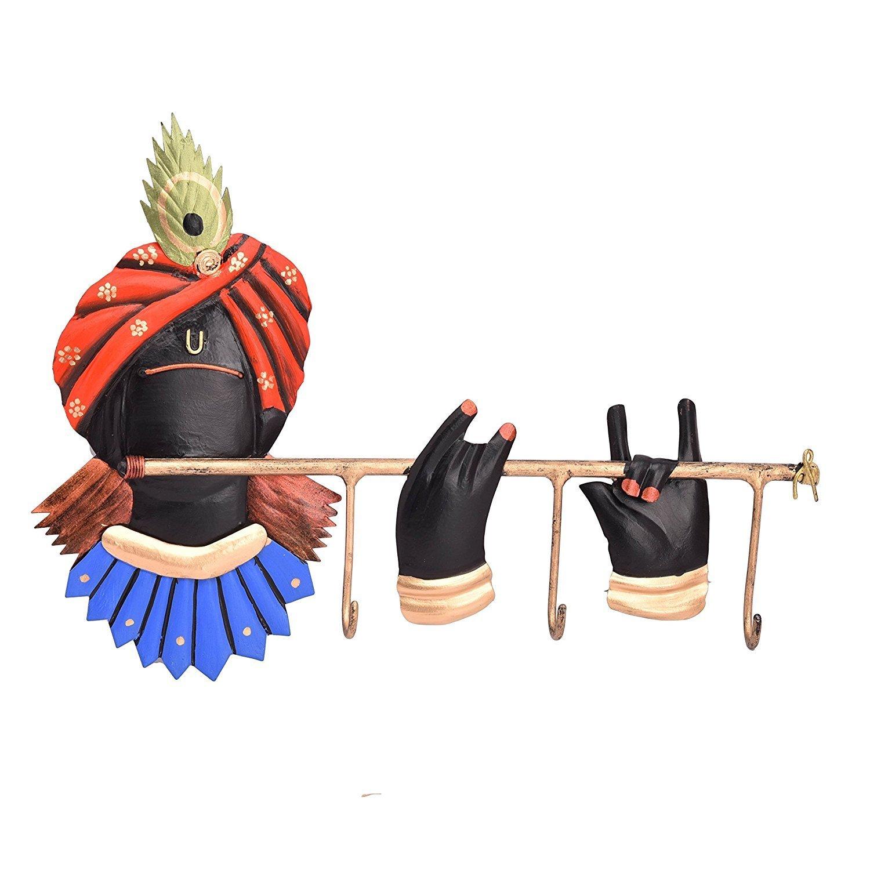 Wrought Iron Lord Krishna Key Holder Indian Home Decor