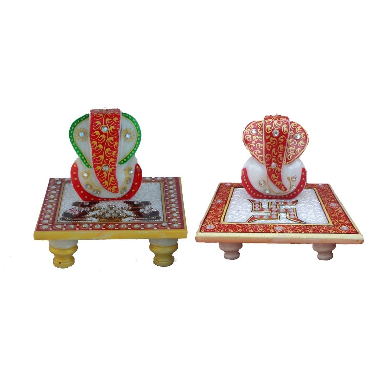 Set of 2 Lord Ganesha Marble Chowkis Indian Home Decor