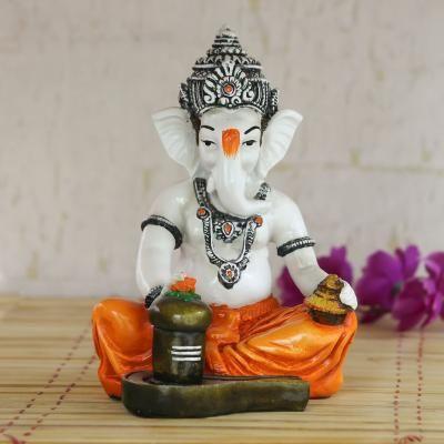 Lord Ganesha Worshipping Lord Shiv Pooja Decorative Spiritual showpiece Indian Home Decor