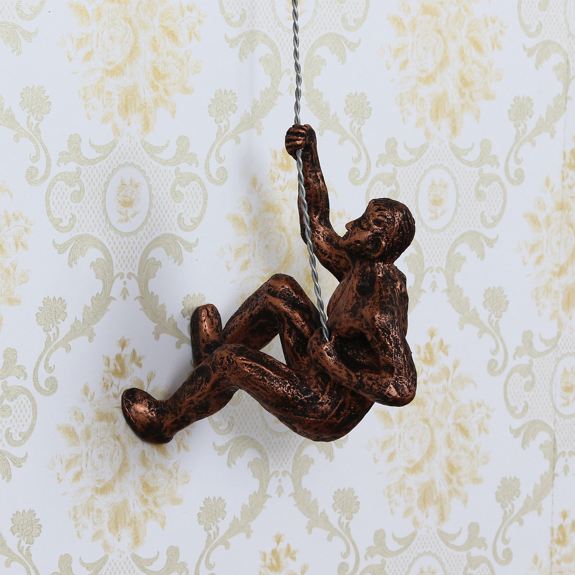 Man Trying to Climb Decorative Wall Hanging Statue Indian Home Decor