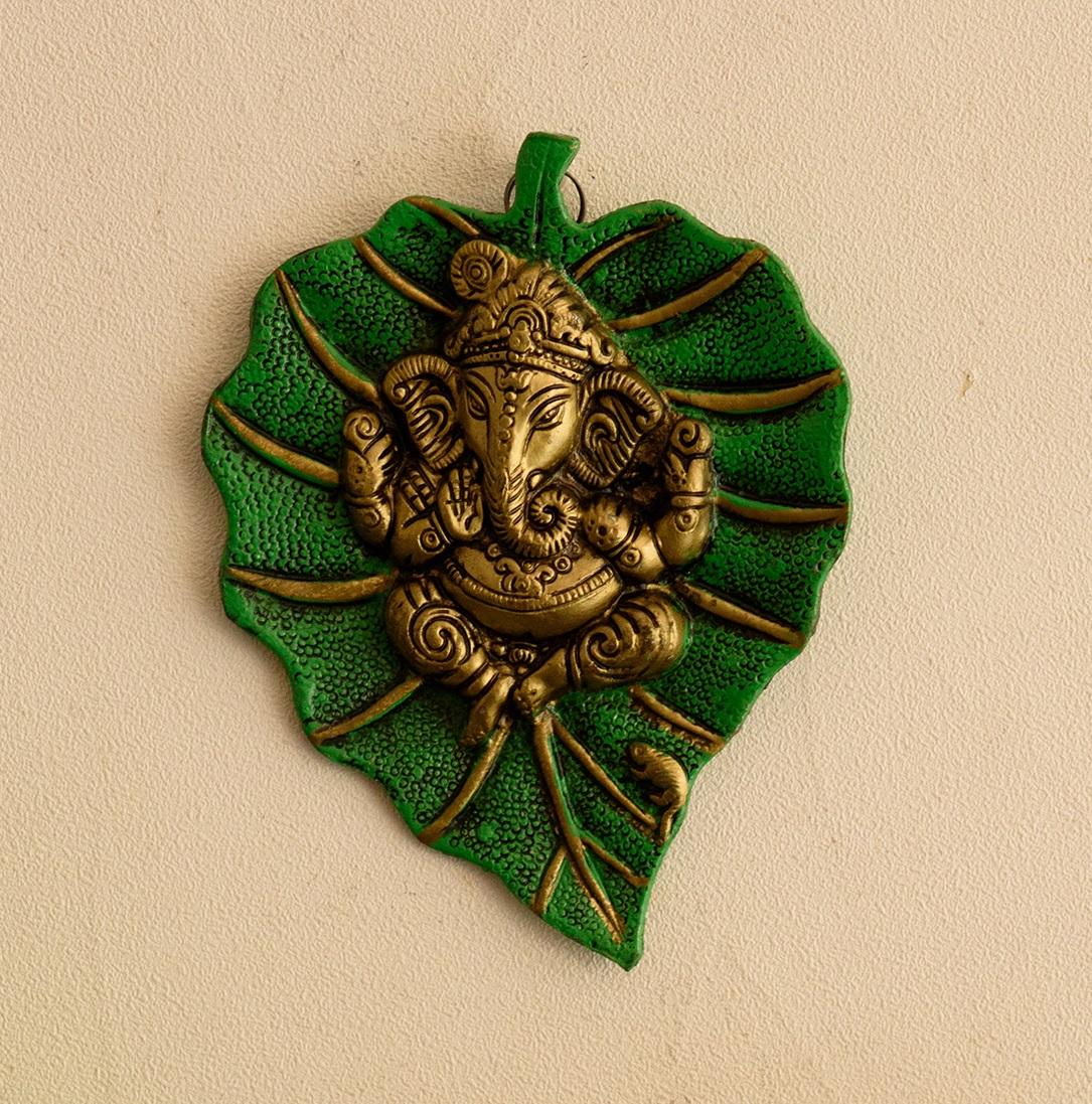 Lord Ganesha on Green Leaf Indian Home Decor