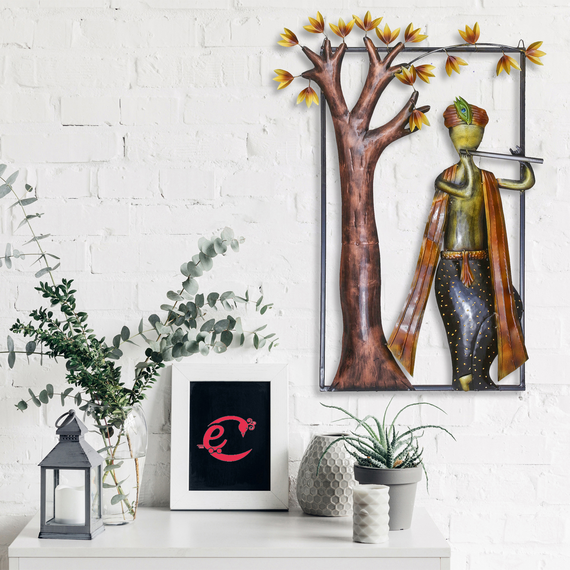 Lord Krishna Playing Flute Under Tree Handcrafted Iron Wall Hanging Indian Home Decor
