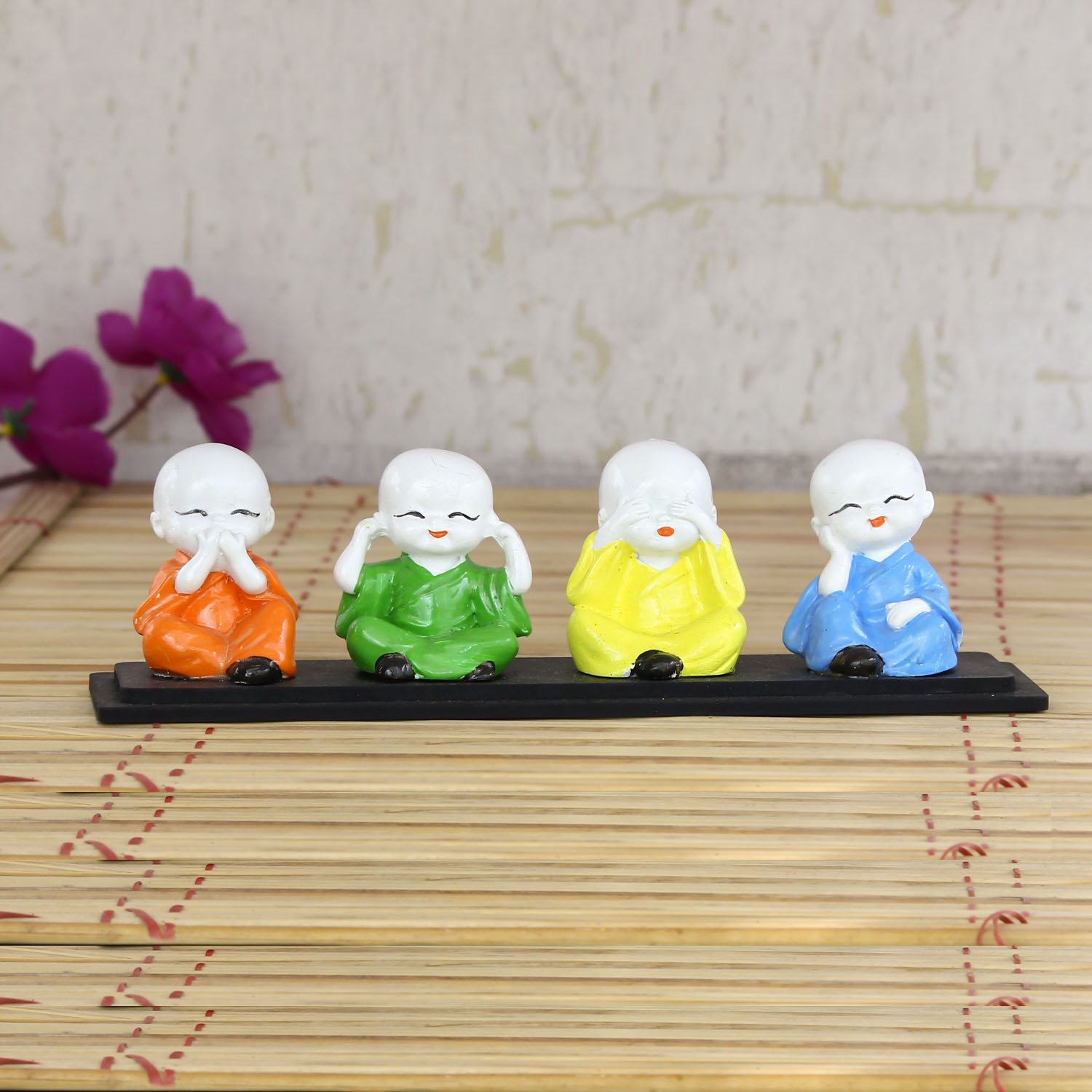 Set of 4 Multi color Monks Polyresin Tealight Holder Indian Home Decor