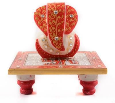 Ridhi Sidhi with Swastik on Marble chowki Indian Home Decor