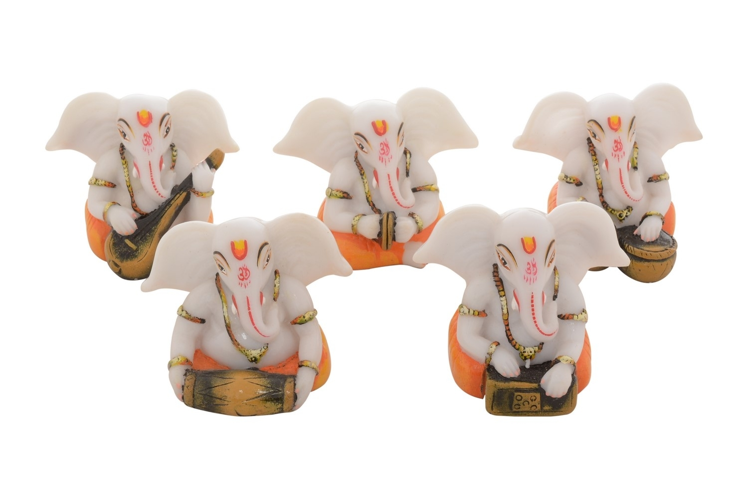 Set of 5 Lord Ganesha playing Musical Instruments Indian Home Decor
