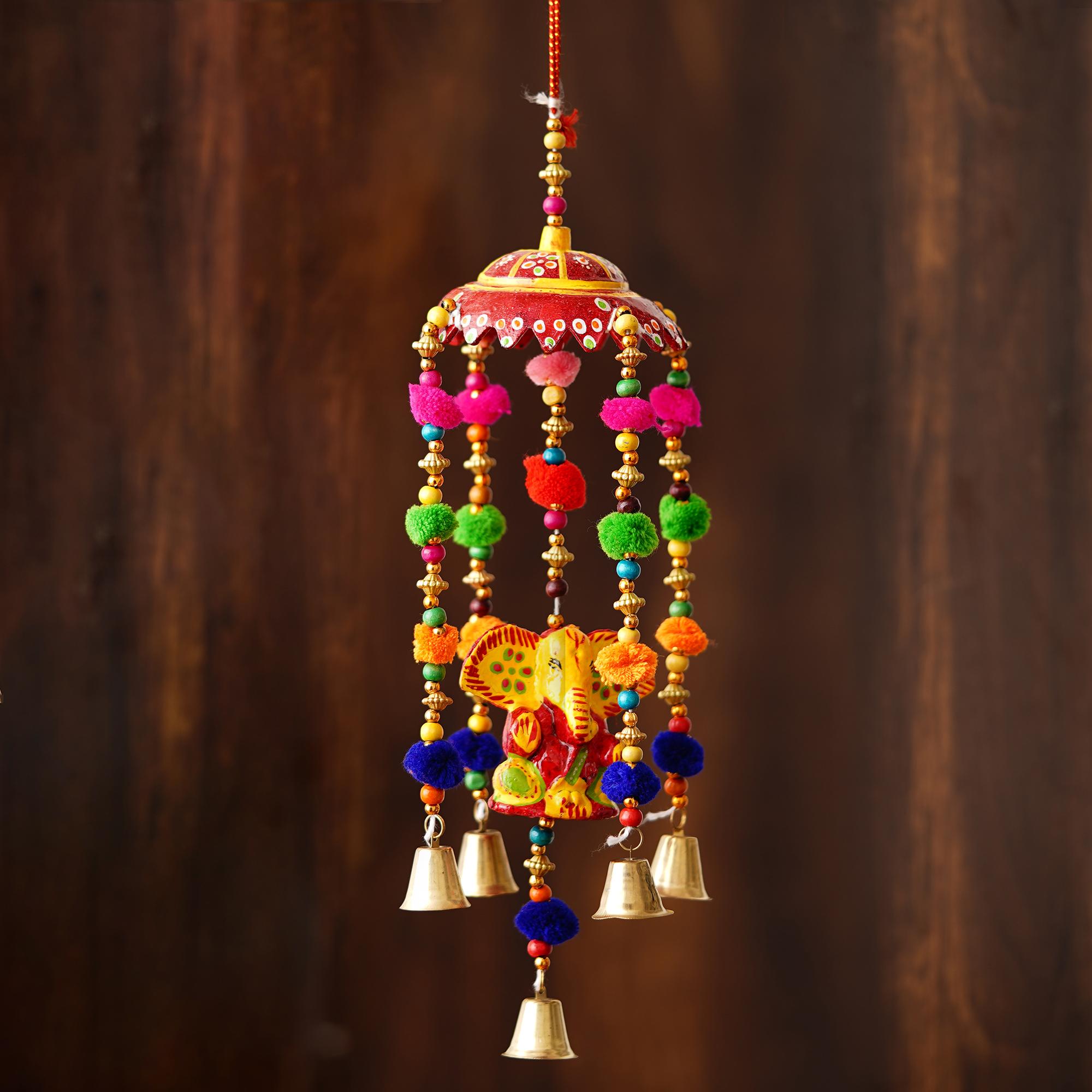 Handcrafted Decorative Lord Ganesha Wall/Door/Window Hanging Bells Indian Home Decor