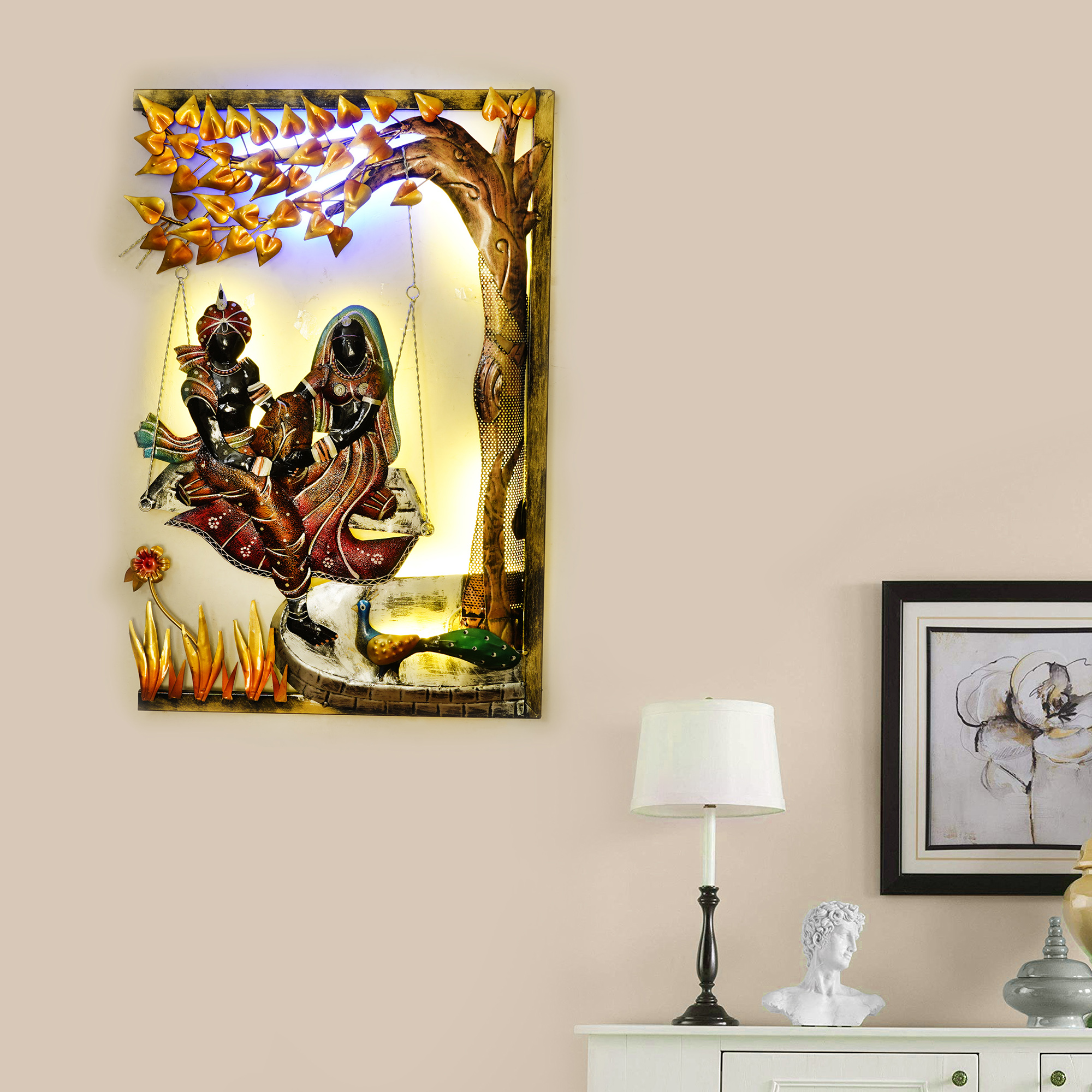 Lord Krishna with Radha on Swing Under Tree Handcrafted Iron Wall Hanging with Background LEDs Indian Home Decor