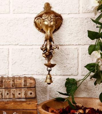 Brass Ganesha wall hanging Deepak with bell and Dancing Ganesha Indian Home Decor