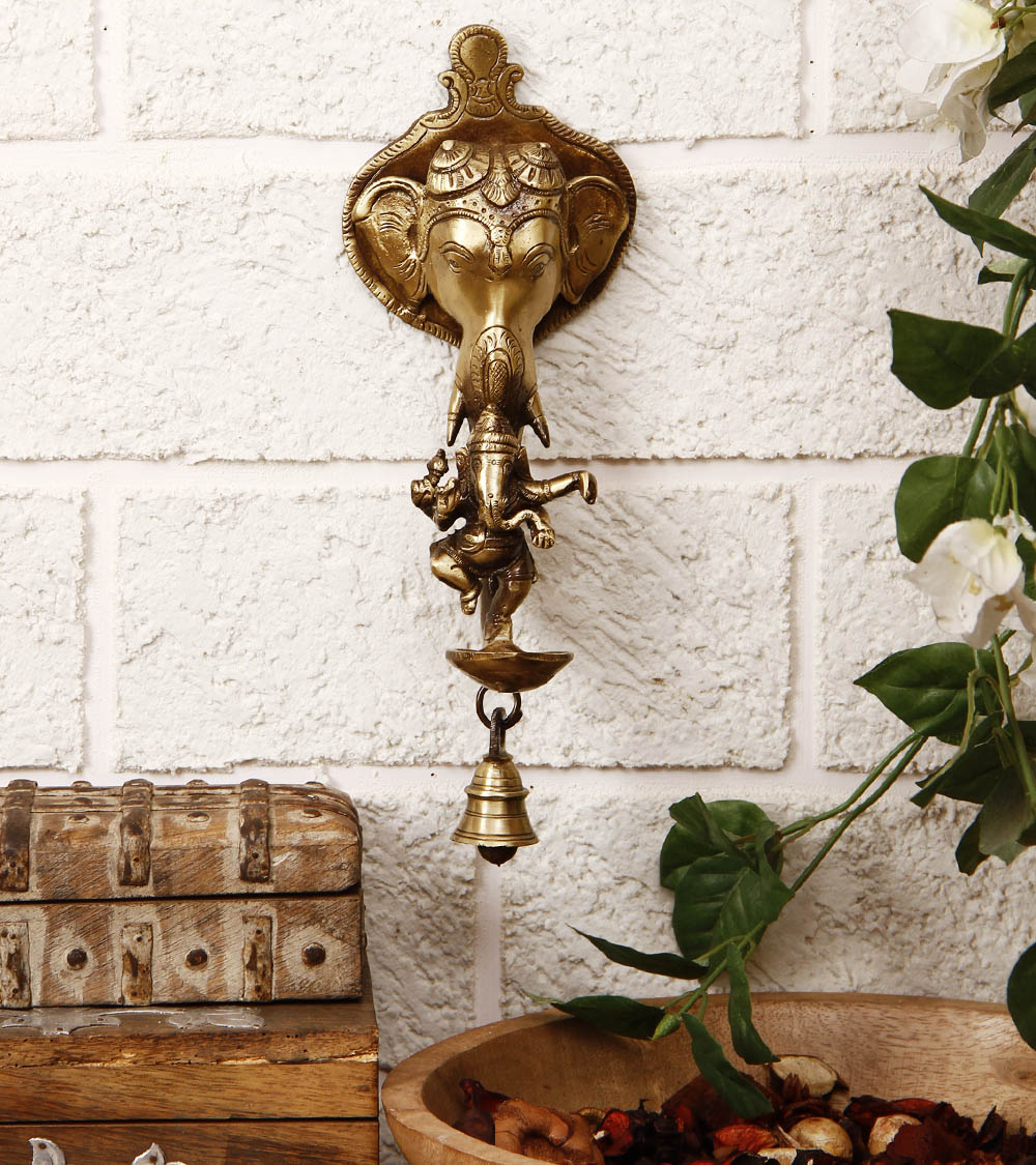 Brass Ganesha wall hanging Deepak with bell and Dancing Ganesha Indian Home Decor