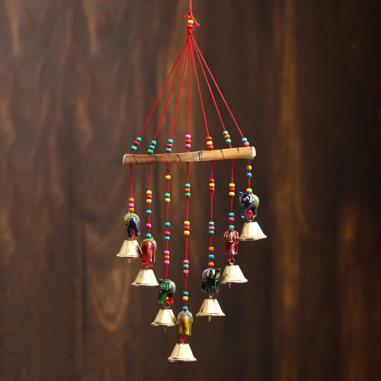 Handcrafted Decorative Elephant Wall/Door/Window Hanging Bells Indian Home Decor