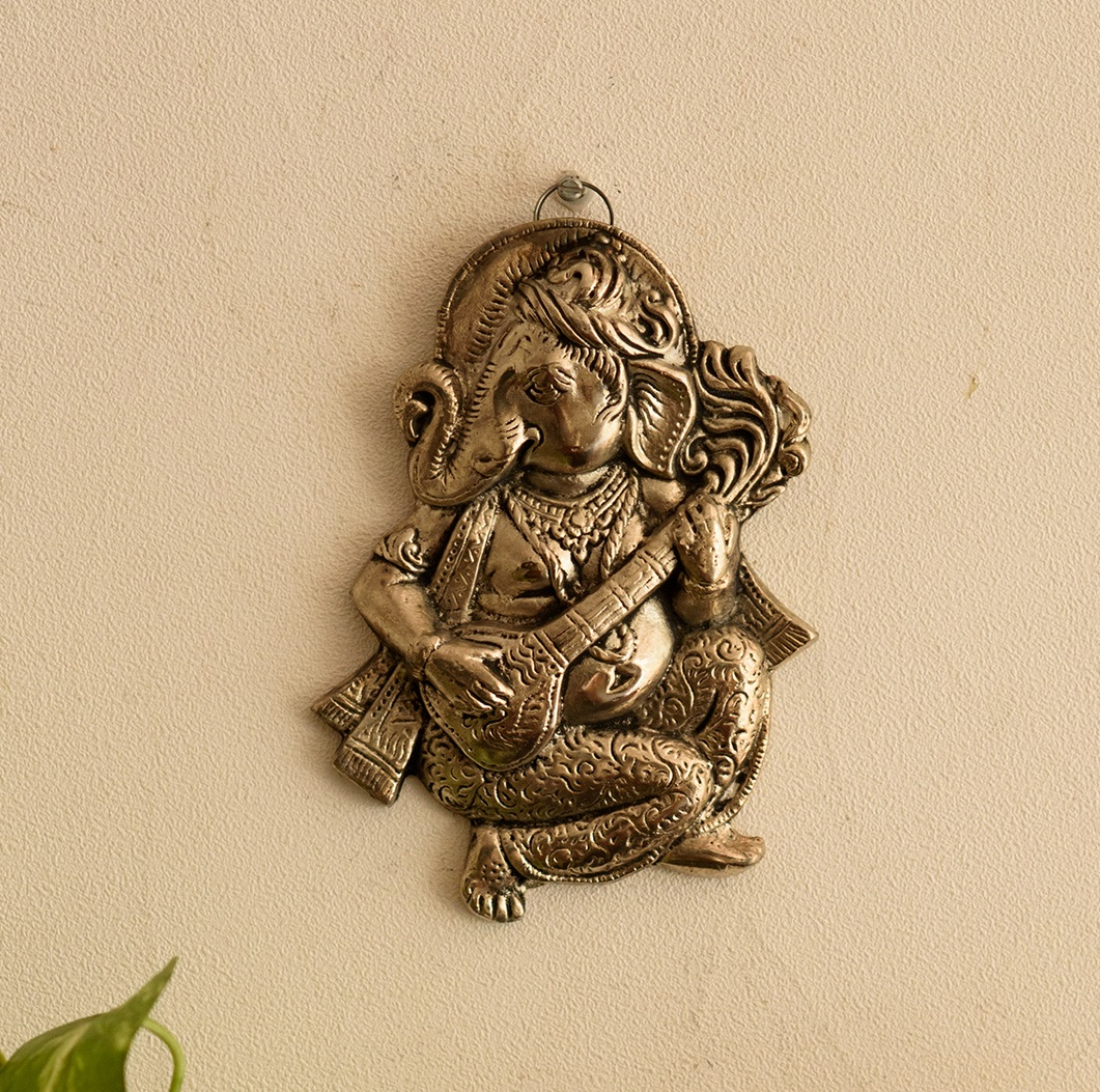 Wall Hanging Ganesha playing Veena Indian Home Decor
