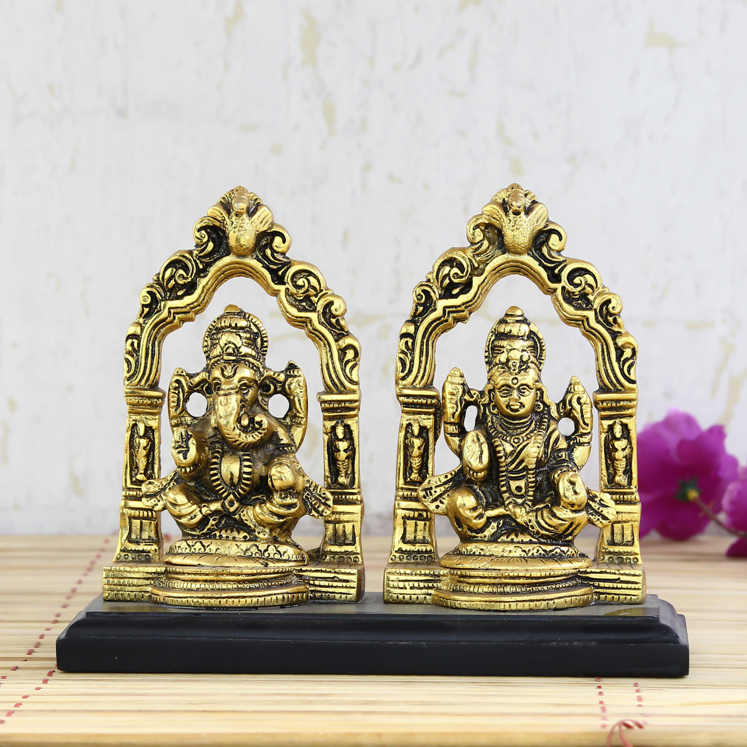 Golden Metal Statue of Goddess Laxmi and Lord Ganesha Indian Home Decor