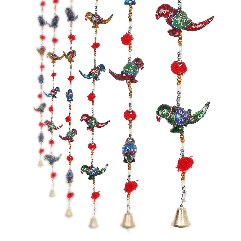 Parrot Mirror work Door Hanging Metal Tapestry Artificial Beads - Set of 2  Indian Home Decor