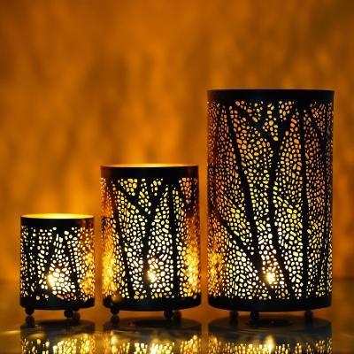 Set of 3 Decorative Mesh Design Iron Tea Light Holder in Cylindrical shape Indian Home Decor