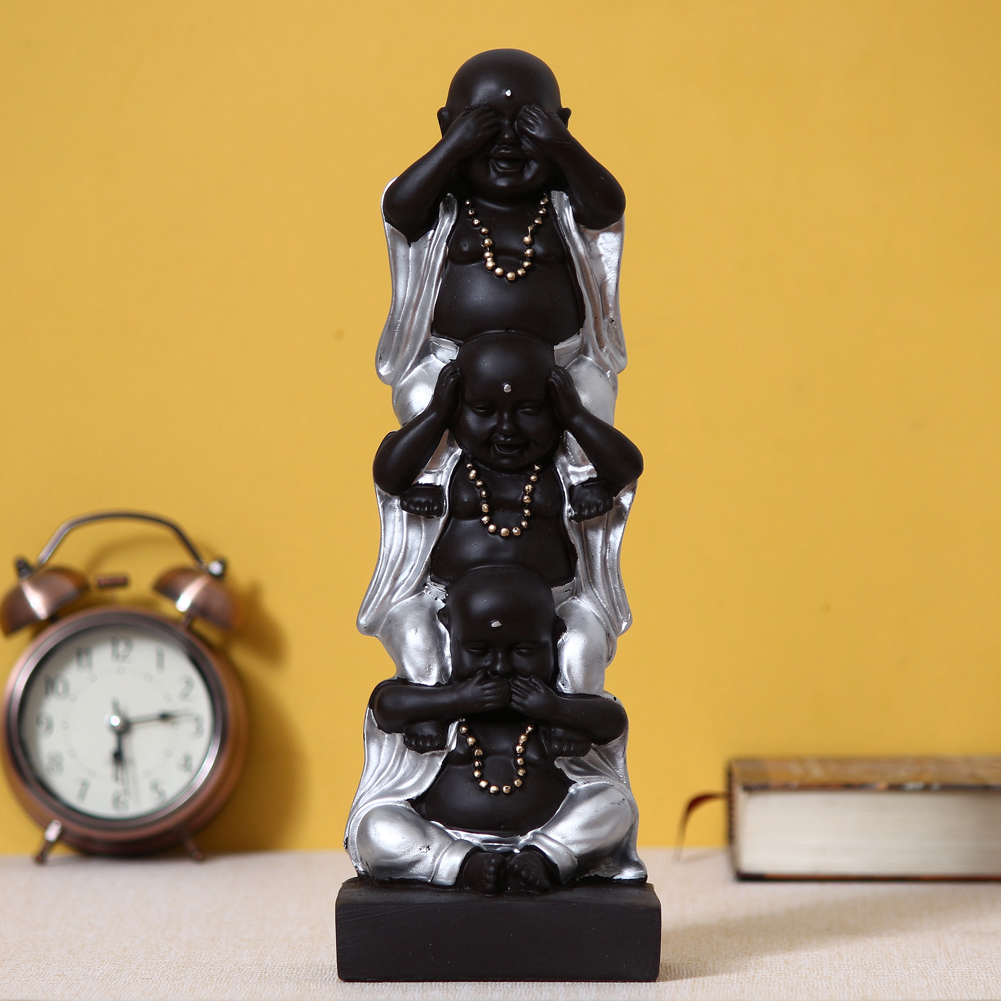 Set of 3 Silver Laughing Buddha Standing on each other Decorative Showpiece Indian Home Decor