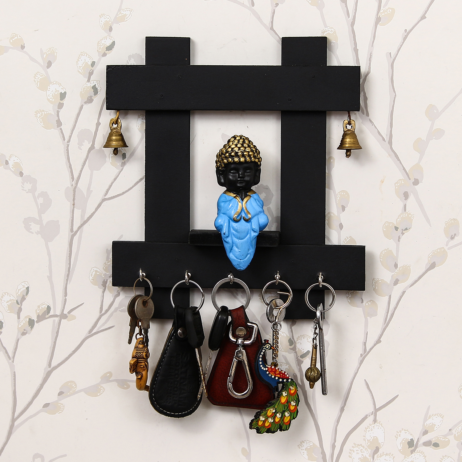 Peaceful Buddha Sitting Wooden Keyholder with 5 Key Knobs Indian Home Decor