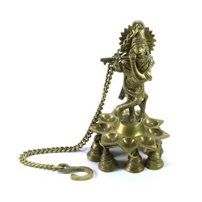 Brass Lord Krishna Playing FluteWall Hanging with 9 Oil Wick Diya Indian Home Decor