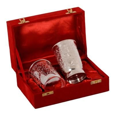 German Silver 2 Glass Set with Velvet Box Indian Home Decor