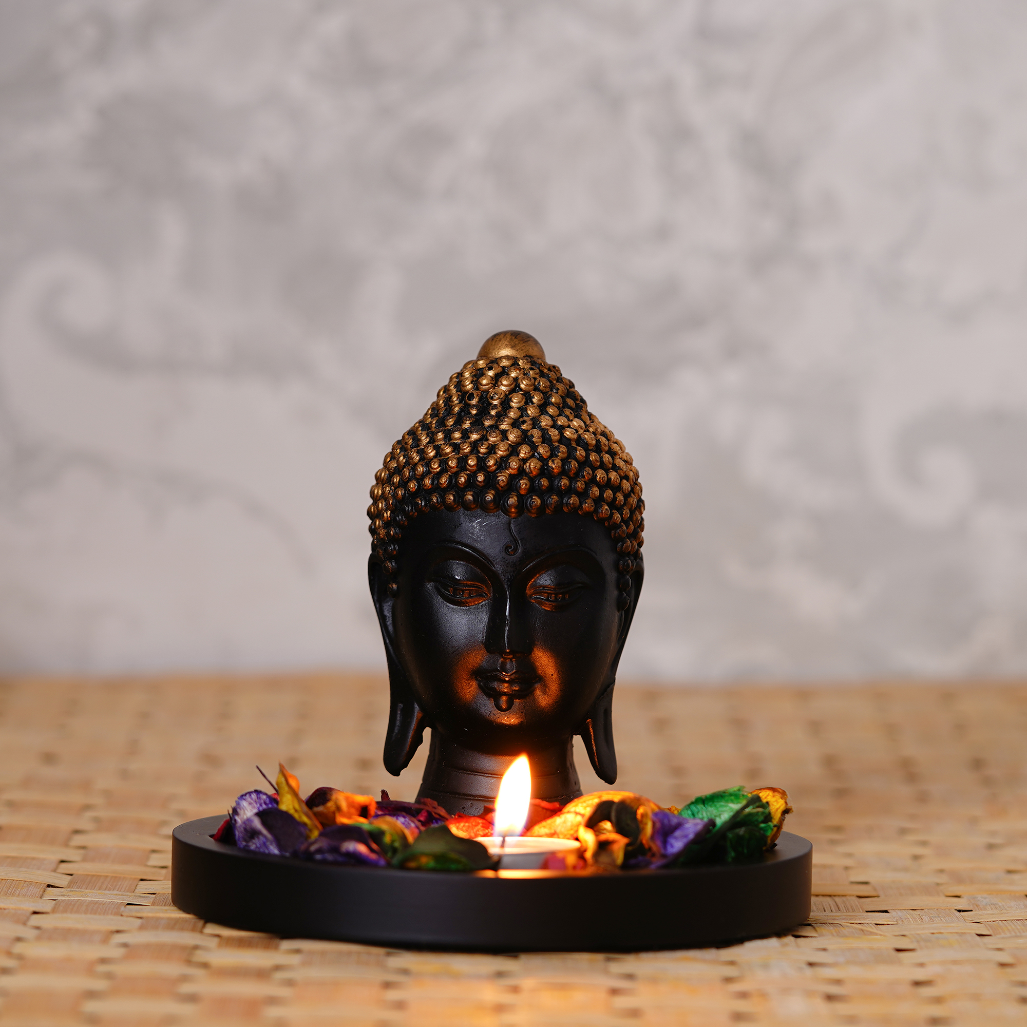 Decorative Black and Golden Buddha Head with Wooden Base, Fragranced Petals and Tealight Indian Home Decor
