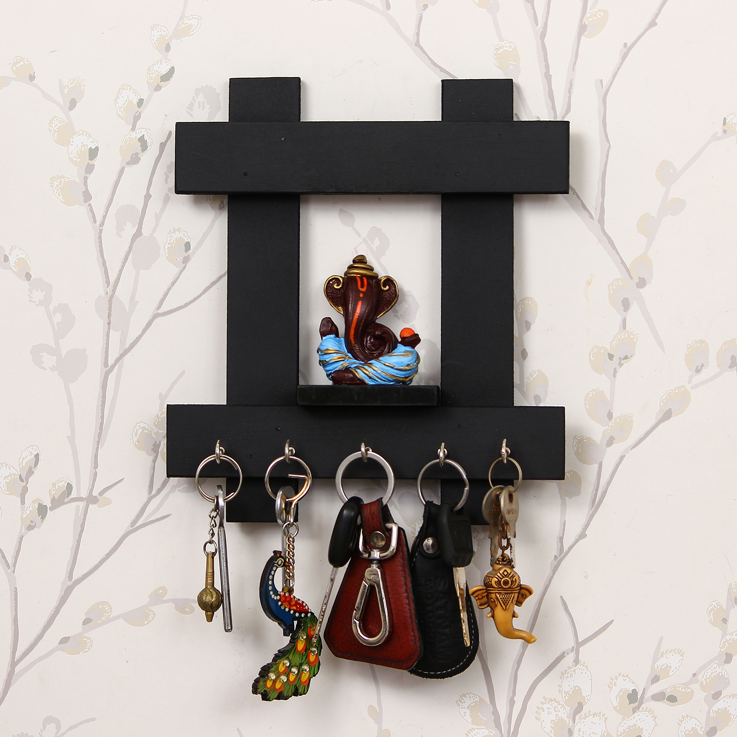Lord Ganesha Wooden Keyholder with 5 Key Knobs Indian Home Decor