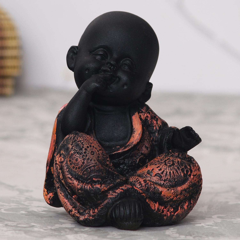 Decorative Smiling Monk Buddha - Copper Indian Home Decor