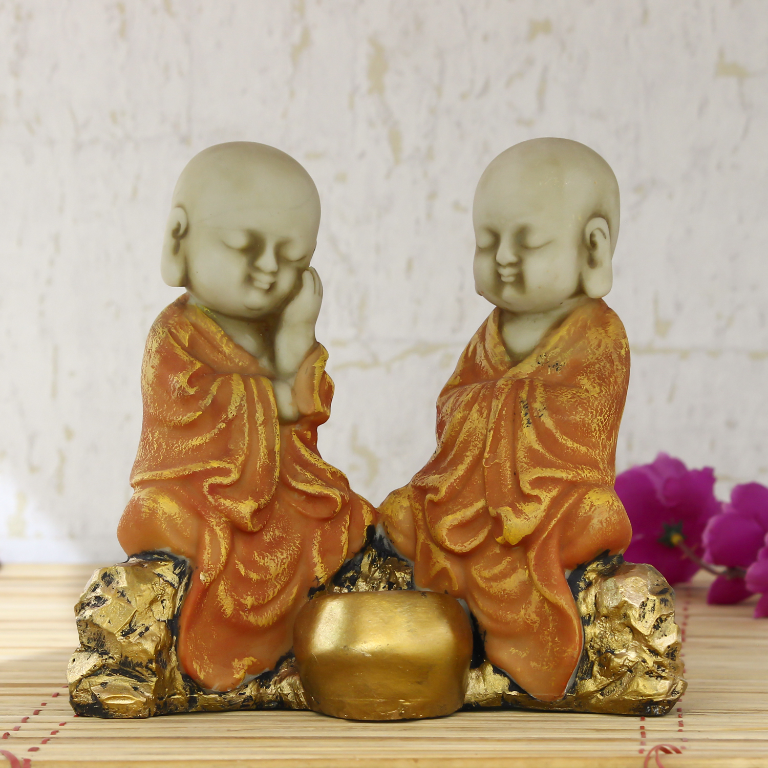 Set of 2 Orange Monks Polyresin Tealight Holder Indian Home Decor