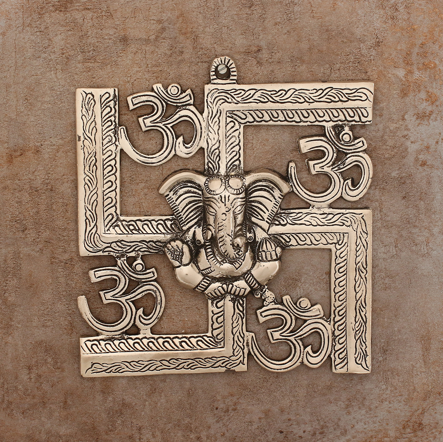 Lord Ganesha on Om Swastik Metal Silver Wall Hanging Indian Home Decor