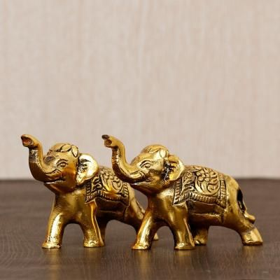 Set of 2 Golden Elephants Metal Animal Figurine Decorative Showpiece Indian Home Decor