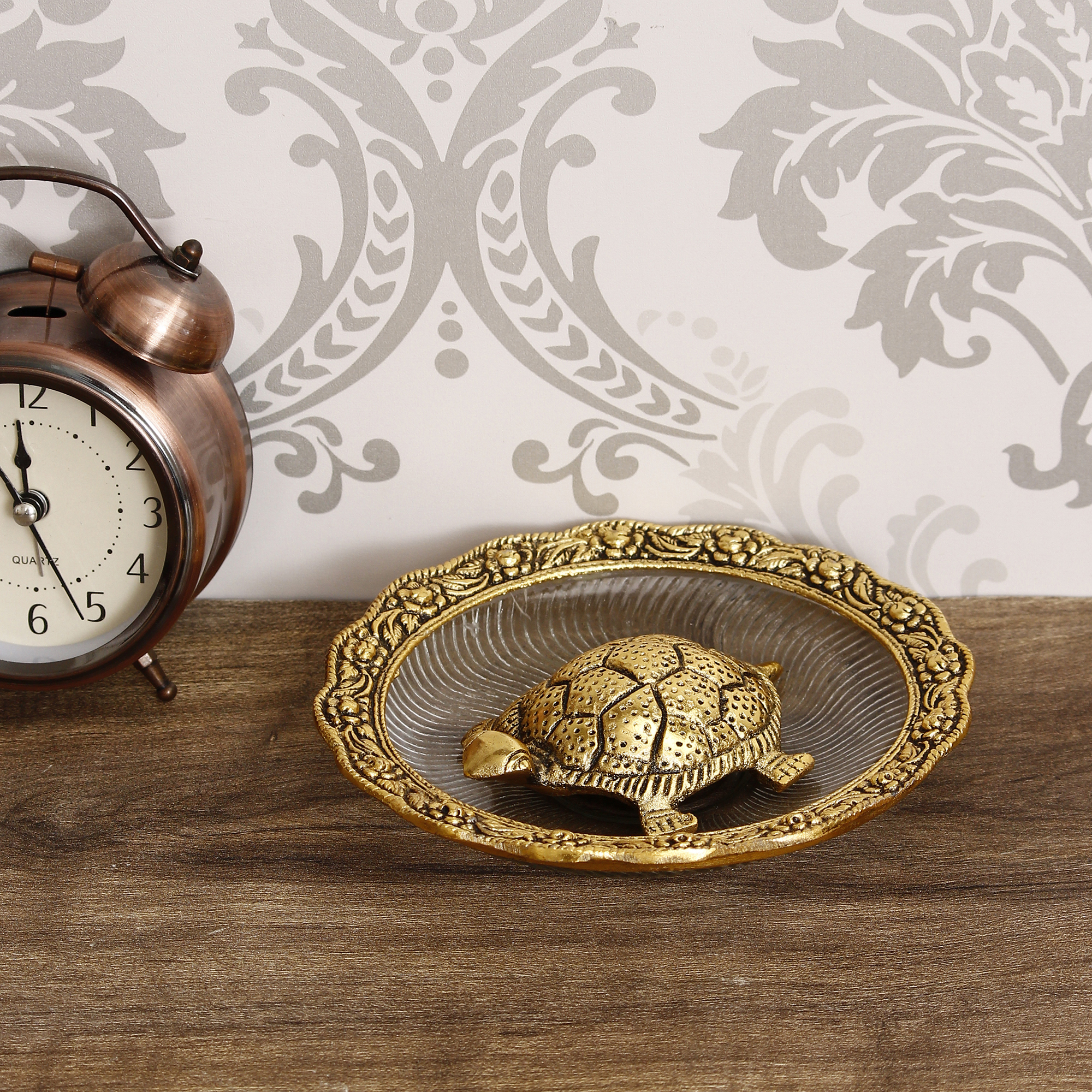 Golden Tortoise Feng Shui Metal and Crystal Showpiece Indian Home Decor