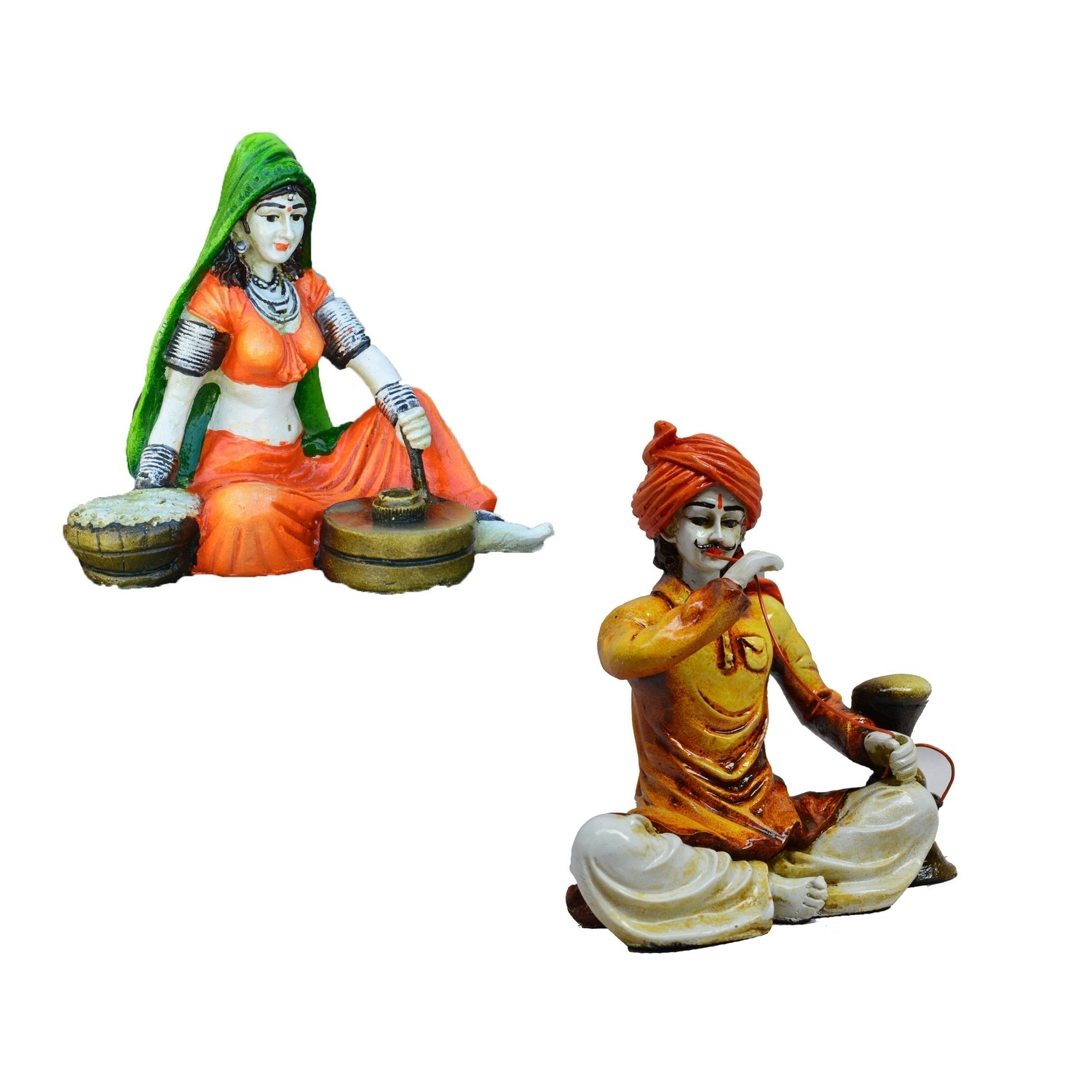 Combo of Rajasthani Hookah Man and Lady Statue Indian Home Decor