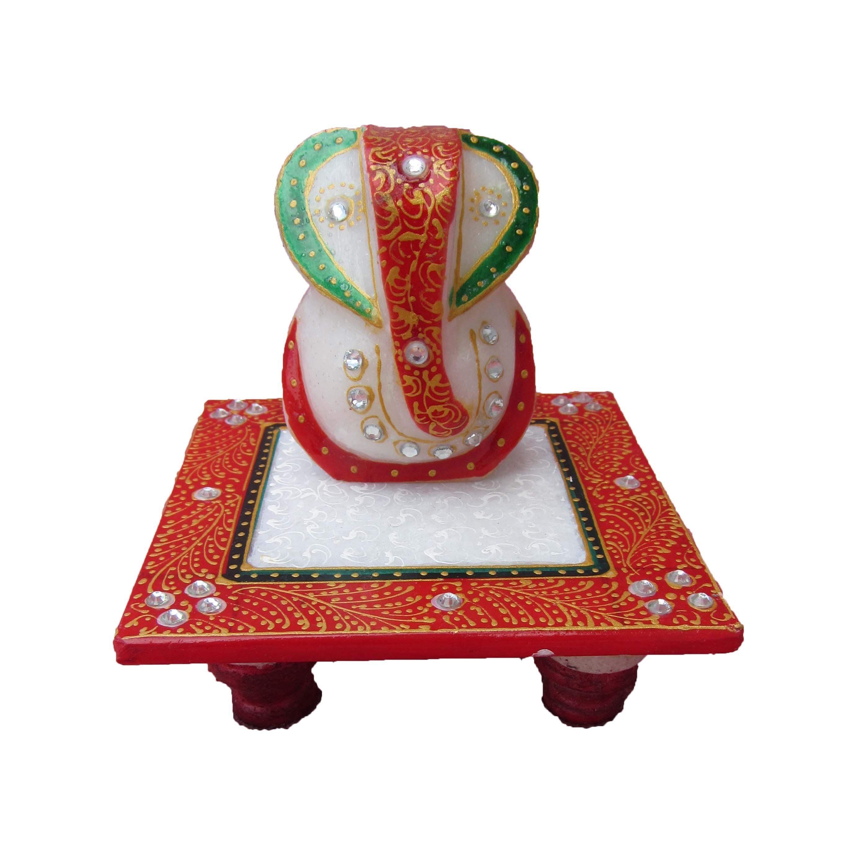 Lord Ganesha on Red Marble Chowki Indian Home Decor