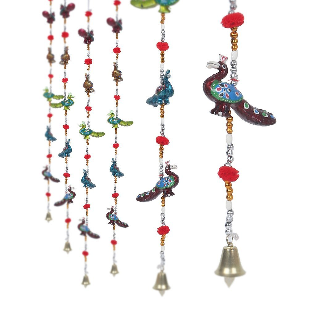 Rajasthani Handcrafted Peacock Door Hanging Home Decor- Set of 2. ..  Indian Home Decor